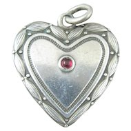 Antique Large Silver and Red Cabochon Heart Charm