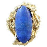 Vintage Brutalist 14k Gold and Lapis Ring