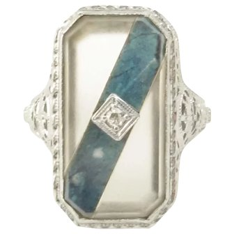 Art Deco Lapis and Rock Crystal 14k White Gold Filigree Ring