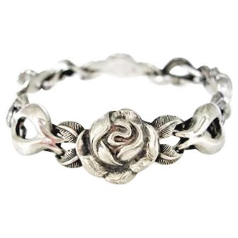 Beautiful Silver Floral Bracelet with Roses & Leaves