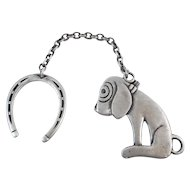 Vintage Sterling Dismal Desmond Dog and Horseshoe Charm Fob