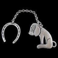 Vintage Sterling Dismal Desmond Dog and Horseshoe Charm Fob