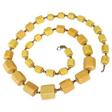 Cadoro ChunkyYellow-Butterscotch Bakelite Long Necklace