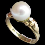 Cultured Pearl 14k Gold Ring