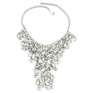 Dazzling Clear Crystal and Rhinestone Waterfall Bib Necklace