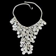 Dazzling Clear Crystal and Rhinestone Waterfall Bib Necklace