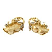 Trifari Gems of the Seas Pea Pod Earrings