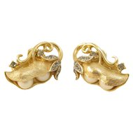 Trifari Gems of the Seas Pea Pod Earrings