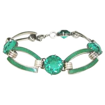Art Deco Green Rhinestone & Enamel Bracelet by Cahoone & Co.