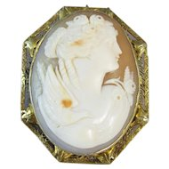 Antique Cameo Woman with Bird 14k Yellow Gold