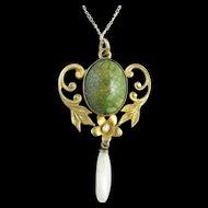 Art Nouveau 10k Gold, Pearl, and Turquoise Pendant/Necklace