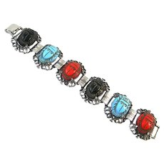 Colorful Glass Scarab Bracelet