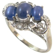Vintage Diamond and Star Sapphire Cabochon 14k Gold Ring