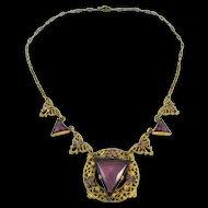 Vintage Amethyst Glass and Enamel Filigree Necklace