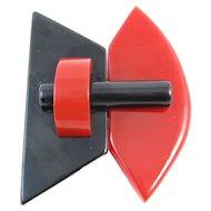 Vintage Red and Bakelite Belt Buckle