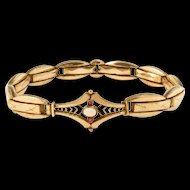 Antique Rose Gold Filled Opalescent Glass Bracelet