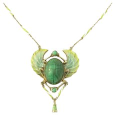 Scarce Peruzzi Silver Plique-a-jour Enamel Scarab Necklace/Pendant Egyptian Revival