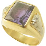 14k Yellow and White Gold Synthetic Alexandrite Retro Ring
