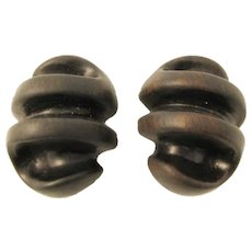Patricia Von Musulin Ebony and Sterling Silver Earrings