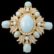 Kenneth J Lane Rhinestone and Turquoise Glass Cabochon Pendant/Pin