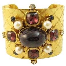 Gerard Yosca Jeweled Maltese Cross Cuff Bracelet