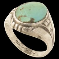 Art Deco Sterling Turquoise Glass Ring by Uncas Manufacturing