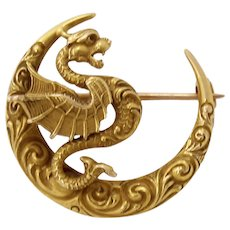 Art Nouveau Antique 14k Gold Winged Serpent Dragon Pin Brooch by Link & Angell