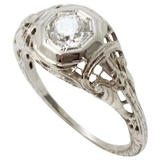 Art Deco Vintage .42 ct Diamond & 14k White Gold Filigree Ring