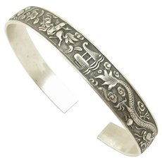 Chinese Bird Of Paradise and Dragon Silver Marriage Bracelet
