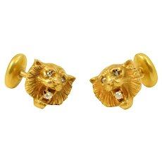 Victorian Antique Diamond and 10k Gold Lion Cufflinks