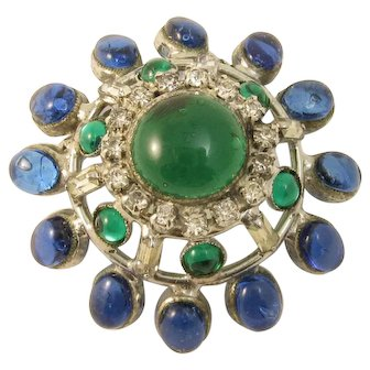 DeNicola Green and Blue Poured Glass Pin/Brooch