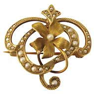 Art Nouveau 14k Gold and Seed Pearl Watch Pin/Pendant