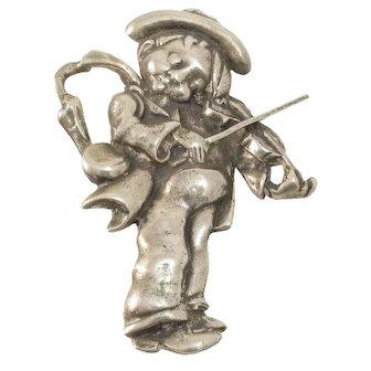 Madelon Mexico Sterling Silver Fiddler Boy Pin/Brooch