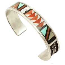John and Rosalie Bowannie Zuni Stone Inlay Sterling Silver Bracelet