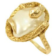 Snake/Serpent 14k Yellow Gold and Pearl Ring