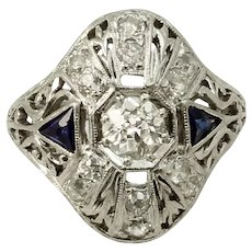 Platinum .82 cttw Diamond and Sapphire 1920-30s Art Deco Ring