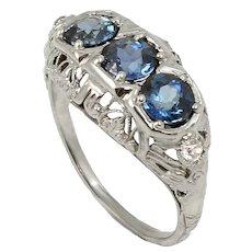 Art Deco 1-1/2 ct Sapphire and Diamond 18k White Gold Filigree Ring