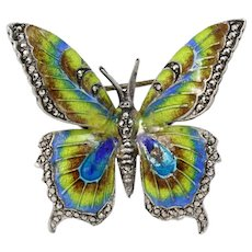 Alice Caviness Germany Sterling Silver and Enamel Marcasite Pin/Brooch