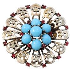 Trifari Sterling Silver Turquoise Glass Cabochon and Rhinestone Fur Clip Pin