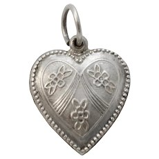Vintage Forget Me Not Flower Sterling Silver Puffy Heart Charm