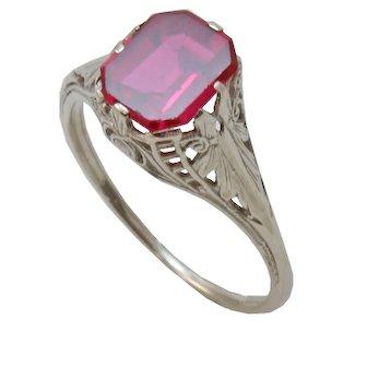 Vintage Syn. Ruby 10K White Gold Filigree Ring