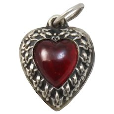 Vintage Red Glass and Sterling Silver Puffy Heart Charm
