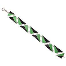 Art Deco Green and Back Enamel Sterling Bracelet