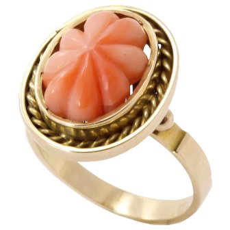 Vintage Carved Coral 14k Gold Ring