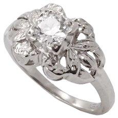Vintage .48ct Diamond and 14k White Gold Ring