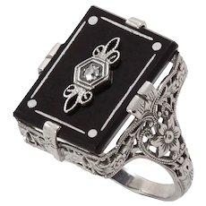 Art Deco Diamond and Onyx 14k White Gold Filigree Ring