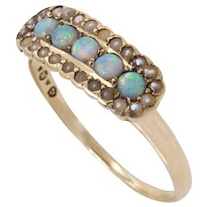 Victorian 14k Yellow Gold Opal and Pearl Antique Ring