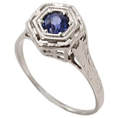 Art Deco Natural Sapphire 14k White Gold Filigree Ring