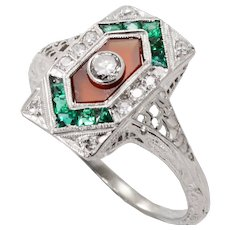 Art Deco 18k White Gold Filigree, Diamonds, Carnelian and Lab Emeralds Ring