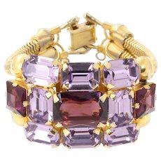 Vintage Bold Amethyst Rhinestone Bracelet